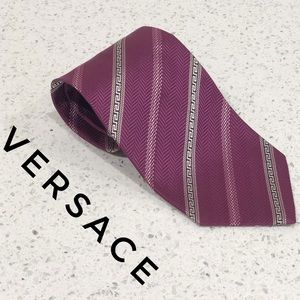 Versace Purple White Striped Greek Key Silk Tie